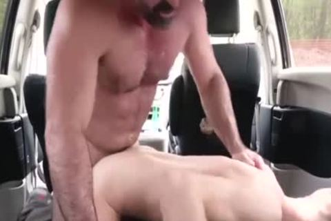 Son Takes enormous Daddy's penis In A Family Car - FA